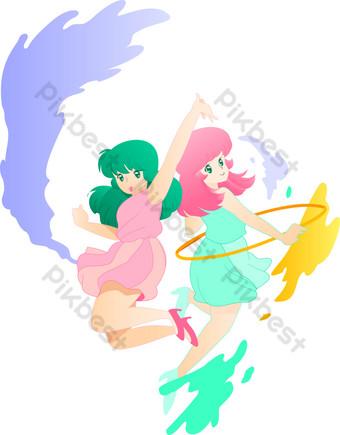 الرياضة الوردي والأخضر النشيطة فتاة القفز وتحول حولا هوب مليئة بالحيوية صور PNG قالب AI