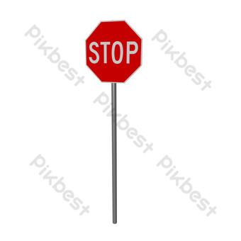 detener la señal de tráfico Elementos graficos Modelo C4D