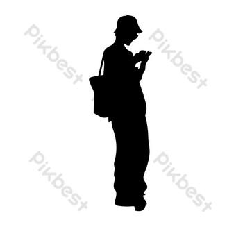silueta de niña de compras en la calle Elementos graficos Modelo PSD