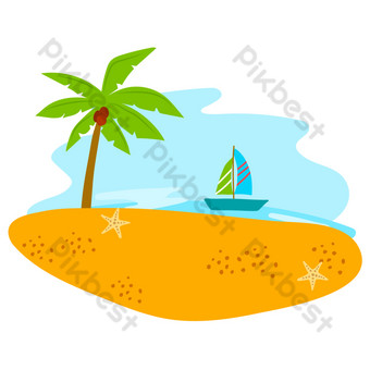 Summer beach seaside coconut tree PNG Images Template AI