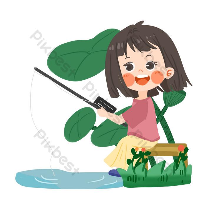 ฤดูร้อนสาวน่ารักตกปลา png