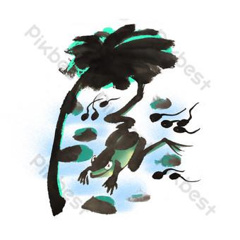 ilustración de dibujado a mano de corriente de rana de verano Elementos graficos Modelo PSD
