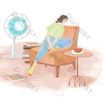 niña de verano soplando ventilador sentado en el sofá Elementos graficos Modelo PSD
