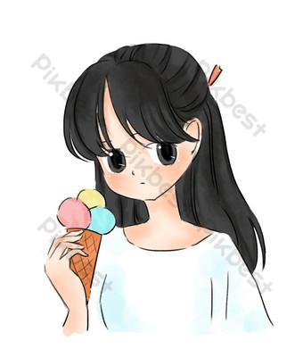 gadis musim panas makan es krim kartun digambar tangan gesper png gratis Elemen Grafis Templat PSD