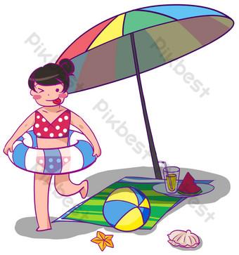 Summer girl sunshade seaside illustration PNG Images Template PSD