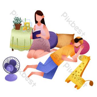 夏季午睡休息夫婦 元素 模板 PSD