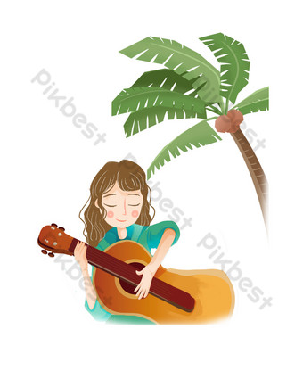 Summer playing guitar seaside PNG Images Template PSD
