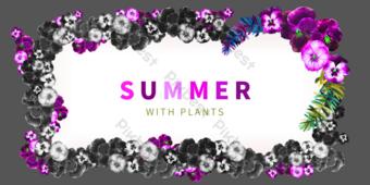 borde decorativo floral púrpura de verano Elementos graficos Modelo PSD
