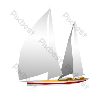 Summer sea sports sailing illustration PNG Images Template PSD