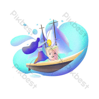 Summer sea surfing illustrations cute and fresh fruit drink PNG Images Template PSD