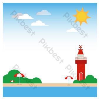 Summer seaside beach sun PNG Images Template PSD