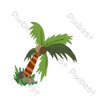 Summer seaside coconut tree PNG Images Template PSD