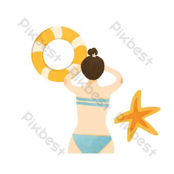 Summer seaside element decoration illustration PNG Images Template PSD