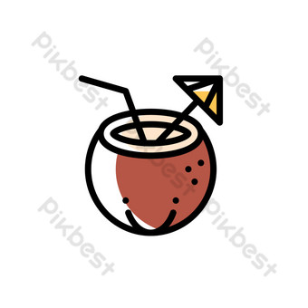 Summer seaside mbe style coconut juice decorative icon PNG Images Template AI