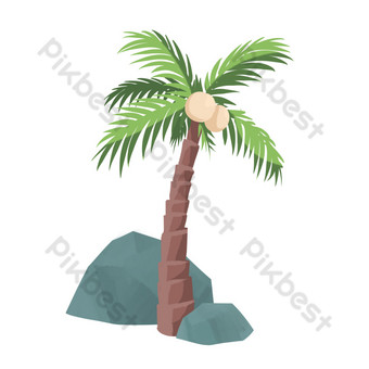 Summer seaside plant coconut tree PNG Images Template PSD