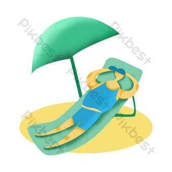 Summer seaside sunbathing character illustration design element PNG Images Template PSD