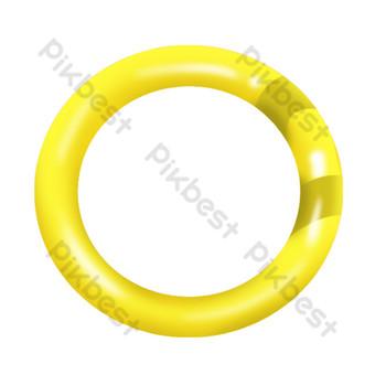 Summer seaside swimming ring yellow hand drawn cartoon cute free materi PNG Images Template PSD