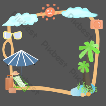 Summer seaside trip PNG Images Template PSD