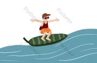 Summer seaside vacation surfing theme cartoon PNG Images Template PSD