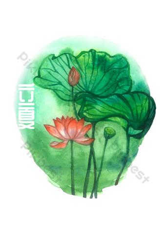 Calendrier lunaire de lotus de lotus de terme solaire d'été PNG Éléments graphiques Modèle PSD