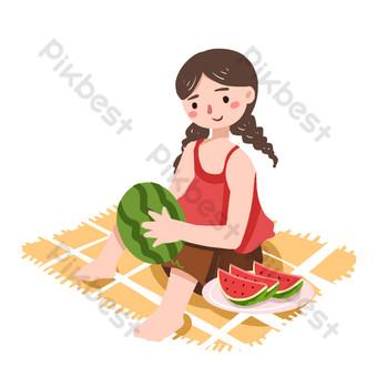 niña de solsticio de verano sentada y comiendo sandía png Elementos graficos Modelo PSD