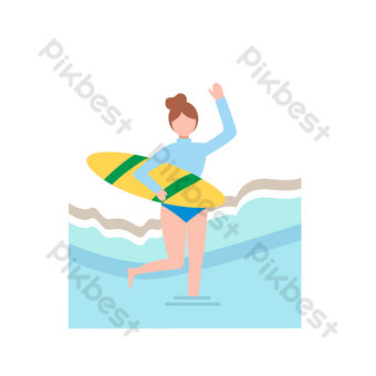 Summer theme cartoon hand drawn seaside character playing water decorative pattern PNG Images Template AI
