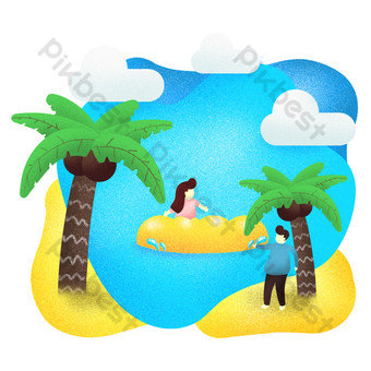 summer vacation coconut tree beach seaside play drawing PNG Images Template PSD