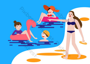 Summer vacation summer camp swimming seaside travel vacation PNG Images Template PSD