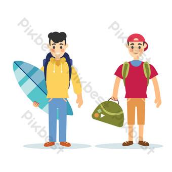Sunshine boy surfing by the sea beach PNG Images Template PSD
