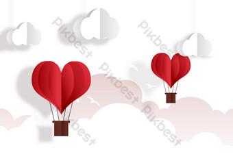 Tanabata Cloud Sea Flying Bird Love Hot Air Balloon PNG Images Template PSD