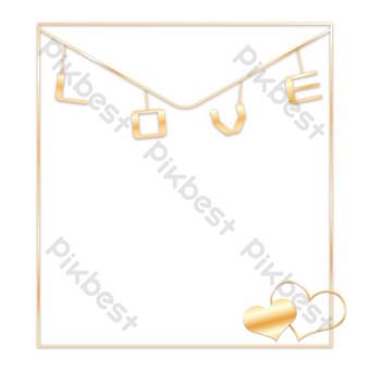 amplop pernikahan emas tanabata cinta hati bingkai logam Elemen Grafis Templat PSD