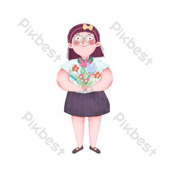 Teacher's day cartoon hand drawn teacher receiving flowers PNG Images Template PSD