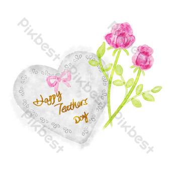 Carte de voeux en forme de coeur pour la journée des enseignants Éléments graphiques Modèle PSD