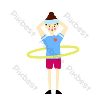 فتاة مراهقة تقوم بتمارين اللياقة البدنية حولا هوب صور PNG قالب PSD