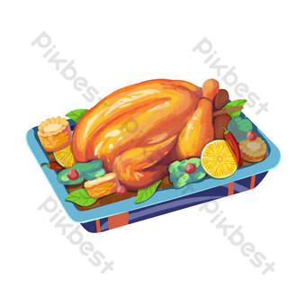 Thanksgiving décoration citron dinde Éléments graphiques Modèle PSD