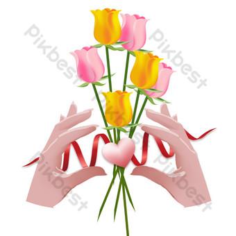 Thanksgiving main tenant des fleurs décoration de carte de voeux Éléments graphiques Modèle AI