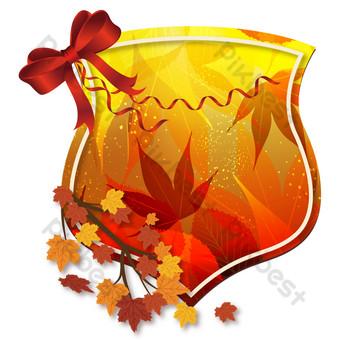 Motif de décoration de carte de voeux de ruban de feuille d'érable de Thanksgiving Éléments graphiques Modèle AI