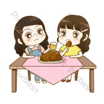 Thanksgiving pour manger de la dinde avec maman Éléments graphiques Modèle PSD