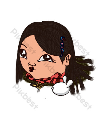 The cute sister who sells cute lips PNG Images Template PSD