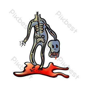 斬首的殭屍流血,恐怖的午睡被稱為萬聖節 元素 模板 PSD