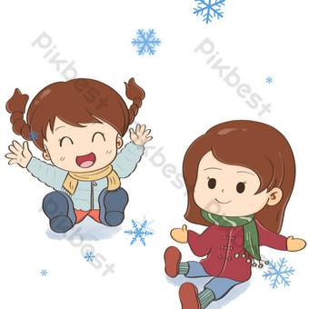 la nieve está volando y la niña está feliz de jugar la pelea de bolas de nieve Elementos graficos Modelo PSD
