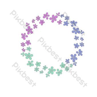 borde floral redondo de tres colores Elementos graficos Modelo PSD