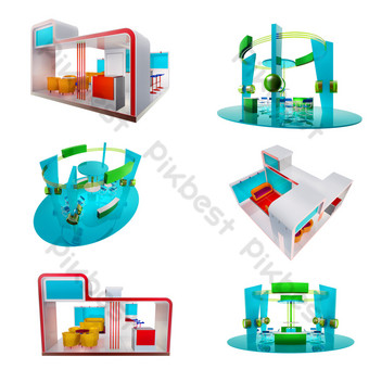 Three-dimensional booth set map png PNG Images Template PSD