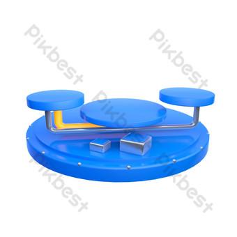 三維炫彩藍色個性舞台裝飾 元素 模板 PSD