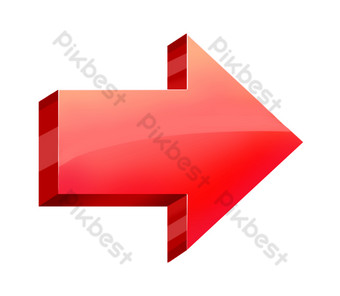 flecha roja tridimensional Elementos graficos Modelo PSD