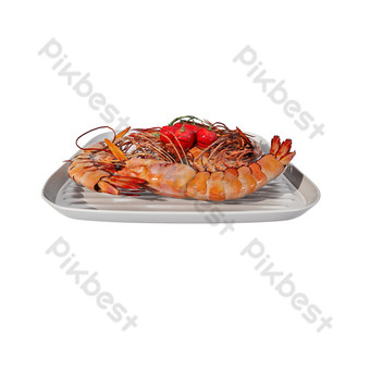 Three-dimensional seafood dishes PNG Images Template PSD