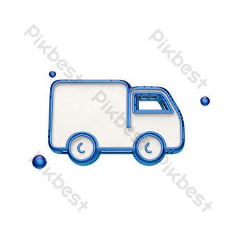 icono de camión de caja pequeña tridimensional Elementos graficos Modelo PSD