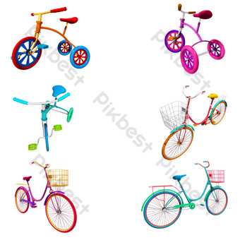 Three-dimensional texture bicycle set map png PNG Images Template PSD