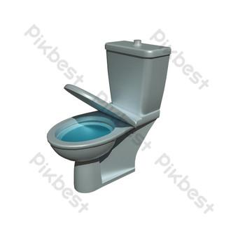 مرحاض فضي رمادي الأدوات الصحية الحمام المياه الزرقاء صور PNG قالب C4D
