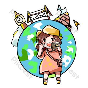 Tourist girl selfie illustration PNG Images Template PSD